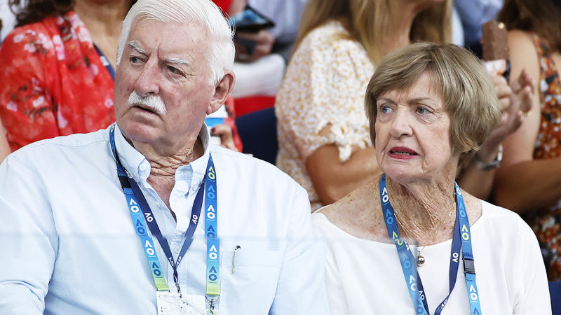 Margaret and Barry Court, pictured here watching on at the Australian Open in January.
