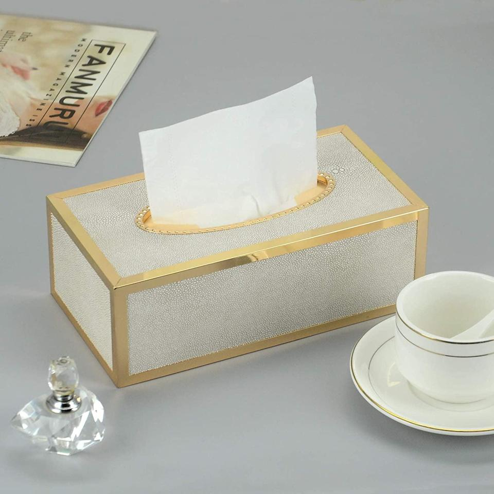 <p>Add a glamorous touch to any room with this <span>Shagreen Gold Tissue Box Cover</span> ($30). It'll make your not-so-fab tissue boxes look elevated. </p>
