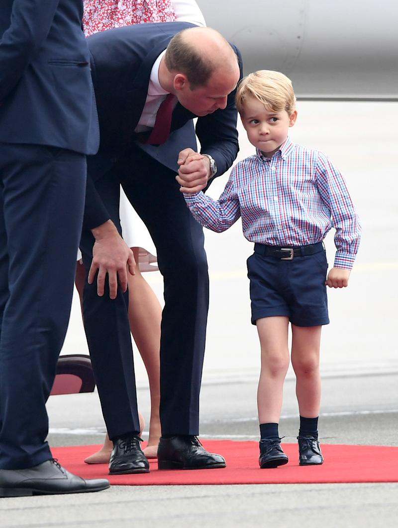 Prince George may be past his terrible twos, but the young royal did not seem as eagar as his younger sister to practice his royal wave and shake hands with German diplomats. However, he still looked the part by wearing on of his go-to pairings, a button-down shirt tucked into shorts, worn with a belt and black shoes.