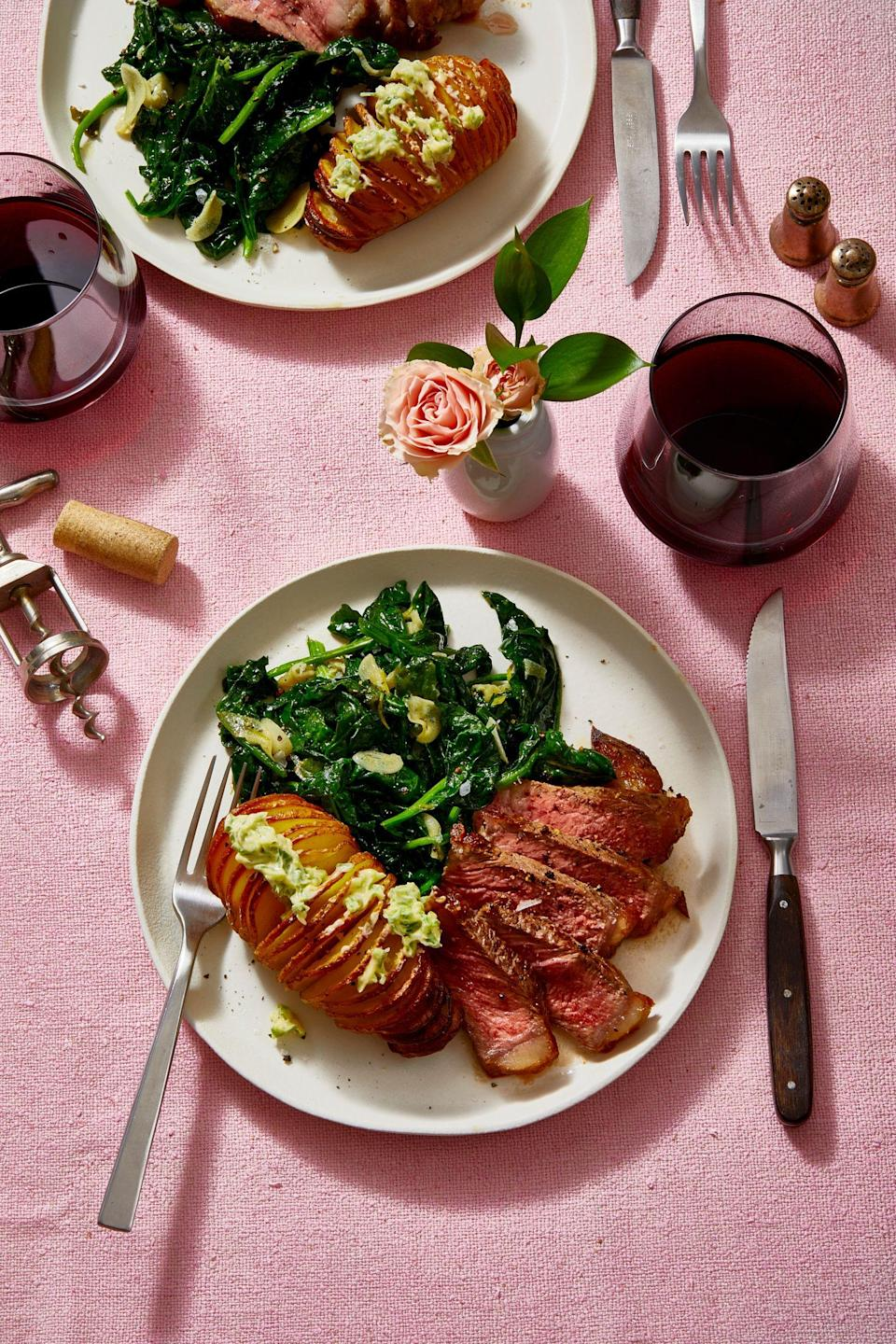 Strip Steak With Hasselback Potatoes and Garlicky Spinach ...
