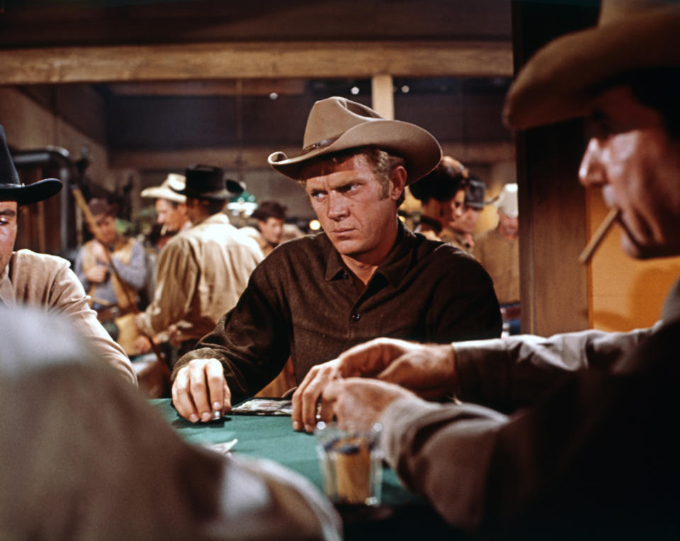 American actor Steve McQueen on the set of Nevada Smith, based on the novel by Harold Robbins, and directed by Henry Hathaway. (Photo by Sunset Boulevard/Corbis via Getty Images)