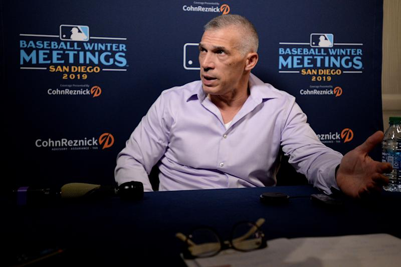 Dec 9, 2019; San Diego, CA, USA; Philadelphia Phillies manager Joe Girardi speaks to the media during the MLB Winter Meetings at Manchester Grand Hyatt. Mandatory Credit: Orlando Ramirez-USA TODAY Sports