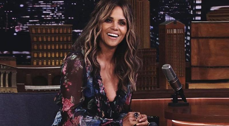 Halle Berry at a talk show