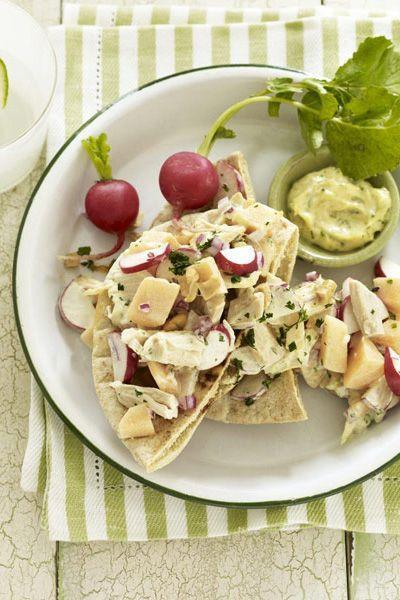 """<p>This curry-spiced chicken salad packs in extra sweet flavor thanks to cantaloupe. </p><p><a href=""""https://www.goodhousekeeping.com/food-recipes/a10265/curried-chicken-pitas-recipe-ghk0810/"""" rel=""""nofollow noopener"""" target=""""_blank"""" data-ylk=""""slk:Get the recipe for Curried Chicken Pitas »"""" class=""""link rapid-noclick-resp""""><em>Get the recipe for Curried Chicken Pitas »</em></a></p>"""