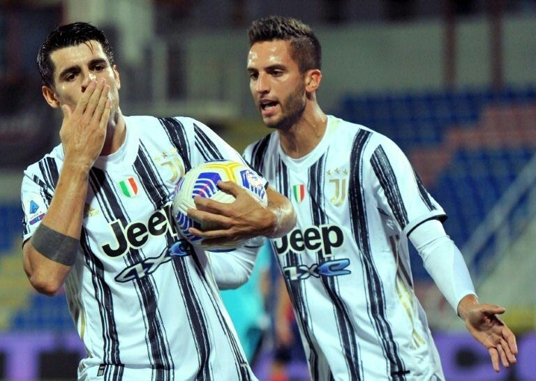 Spanish forward Alvaro Morata (L) has scored three goals in his last two games for Juventus.