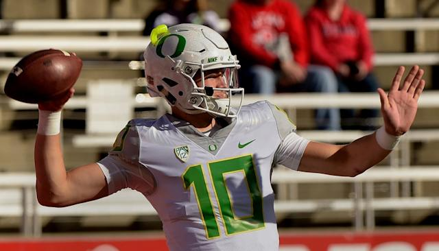 Justin Herbert is competing to start at Oregon. (Getty)