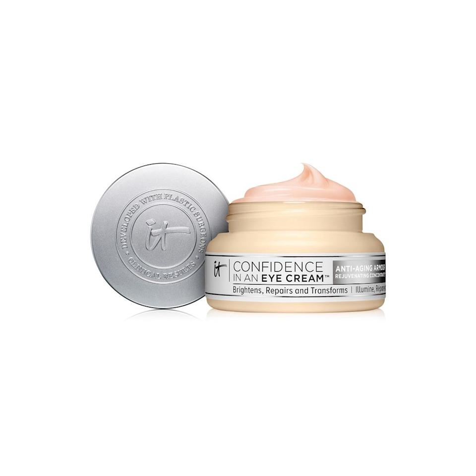 "<p><strong>IT Cosmetics</strong></p><p>macys.com</p><p><strong>$38.00</strong></p><p><a href=""https://go.redirectingat.com?id=74968X1596630&url=https%3A%2F%2Fwww.macys.com%2Fshop%2Fproduct%2Fit-cosmetics-confidence-in-an-eye-cream%3FID%3D5616451&sref=http%3A%2F%2Fwww.oprahmag.com%2Fbeauty%2Fskin-makeup%2Fg25804967%2Fbest-anti-aging-eye-creams%2F"" target=""_blank"">SHOP NOW</a></p><p>If you have sensitive skin, try this restorative eye cream, says <a href=""https://www.batraskincare.com/"">Dr. Sonia Batra</a>, a dermatologist and co-host of <a href=""https://www.thedoctorstv.com/doctors/sonia-batra""><em>The Doctors</em></a>. It works to reduce the appearance of puffiness, fine lines, and wrinkles. It also has a slight tint that helps brighten dark circles. </p>"