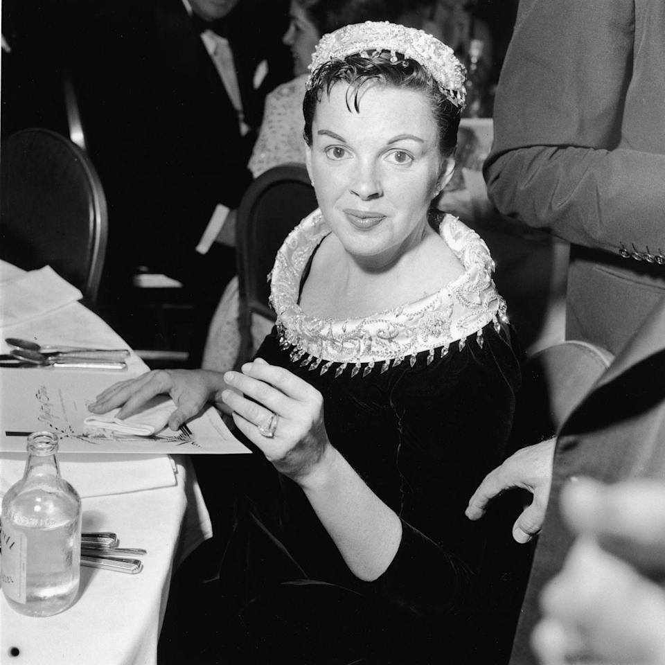 """<p>Judy returned to the movie industry, starring in <u><a href=""""https://www.amazon.com/Star-Born-Judy-Garland/dp/B003RMH33K/ref=tmm_aiv_swatch_1?_encoding=UTF8&qid=1562450693&sr=8-9&tag=syn-yahoo-20&ascsubtag=%5Bartid%7C10050.g.28612488%5Bsrc%7Cyahoo-us"""" rel=""""nofollow noopener"""" target=""""_blank"""" data-ylk=""""slk:A Star Is Born"""" class=""""link rapid-noclick-resp""""><em>A Star Is Born</em></a></u>, opposite James Mason. Luft had been instrumental in putting together the film. She was nominated for an Academy Award, though she lost to Grace Kelly. Here, she's at the premiere. </p>"""