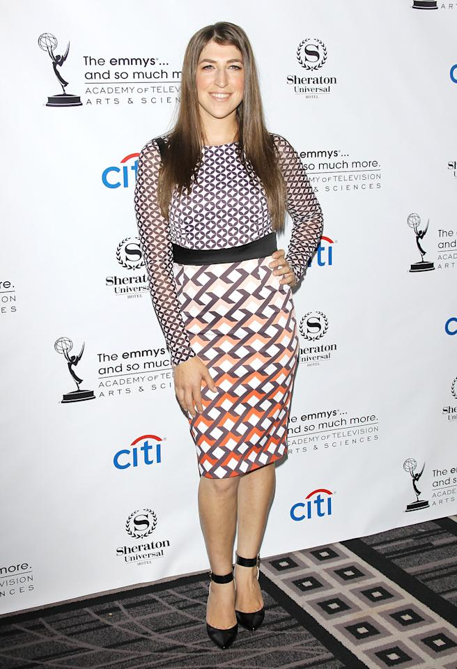 <b>Who:</b> Mayim Bialik<br /><br /><b>Wearing:</b> Geometric Karen Millen dress, black ankle-strap heels<br /><br /><b>Where:</b> Television Academy cocktail reception in Los Angeles