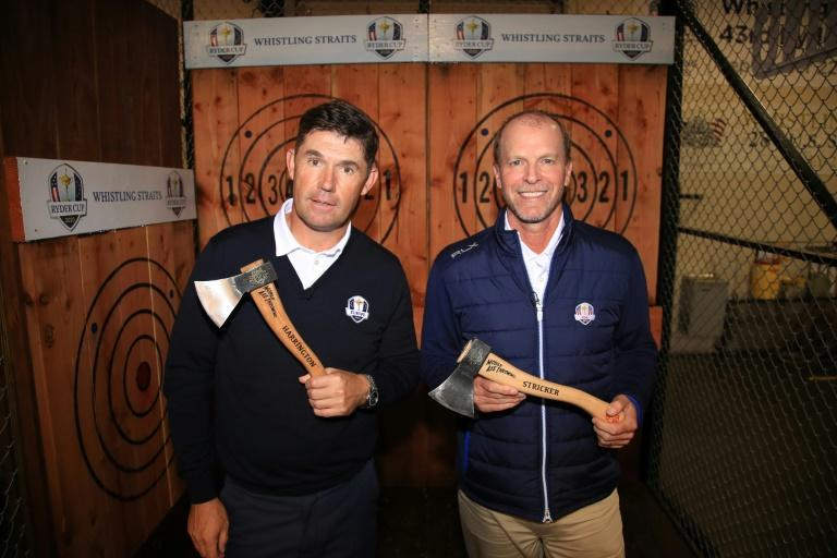 Europe Ryder Cup captain Padraig Harrington of Ireland, left, and US captain Steve Stricker will have to wait until next year for their golf squads to meet at Whistling Straits after organizers postponed the event until 2021 on Wednesday