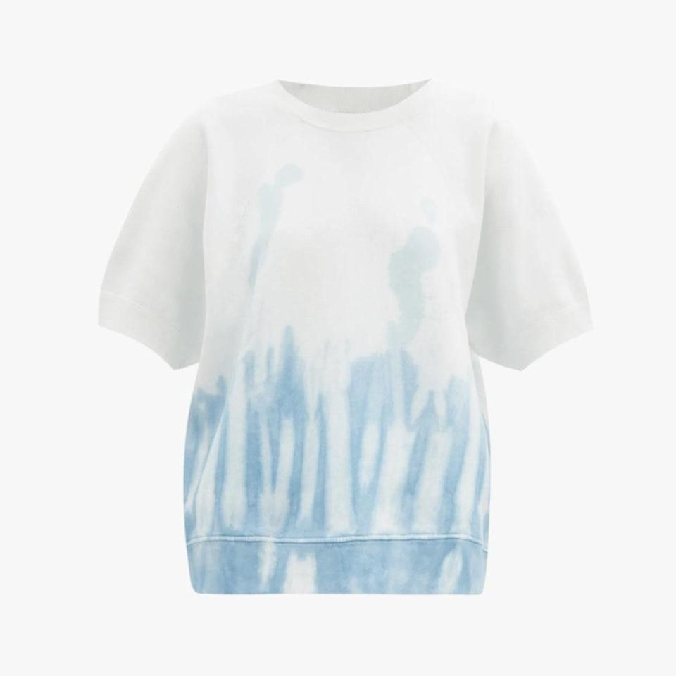 "$275, MATCHESFASHION.COM. <a href=""https://www.matchesfashion.com/us/products/Nili-Lotan-Ciara-tie-dye-fleeceback-cotton-T-shirt--1396741"" rel=""nofollow noopener"" target=""_blank"" data-ylk=""slk:Get it now!"" class=""link rapid-noclick-resp"">Get it now!</a>"