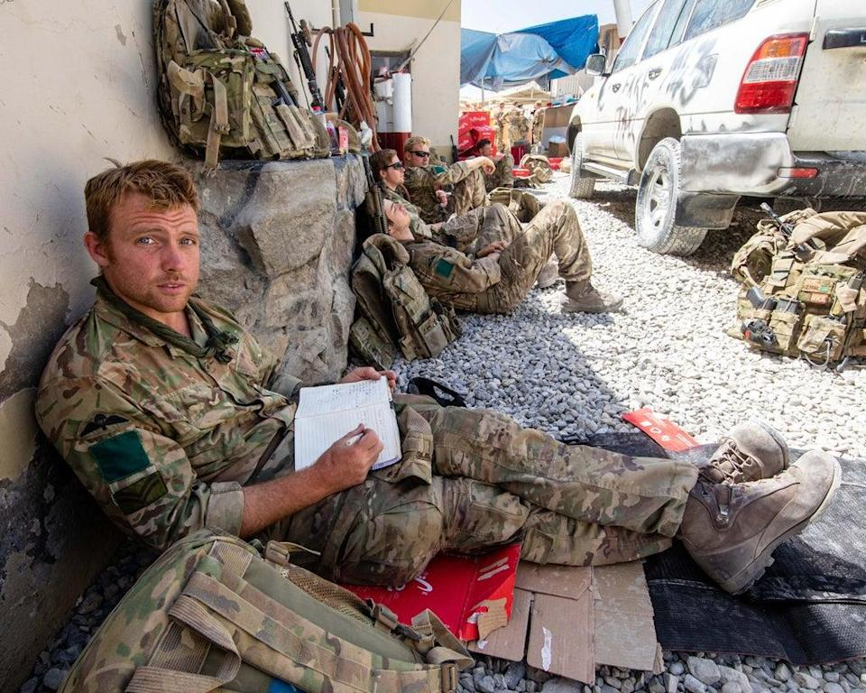 Members of the UK Armed Forces who continue to take part in the evacuation of entitled personnel from Kabul airport (LPhot Ben Shread/MoD/PA) (PA Media)
