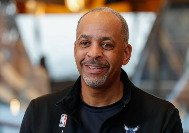 NBA former player Dell Curry reacts during an interview with Reuters ahead of the NBA Paris Game 2020 in Paris