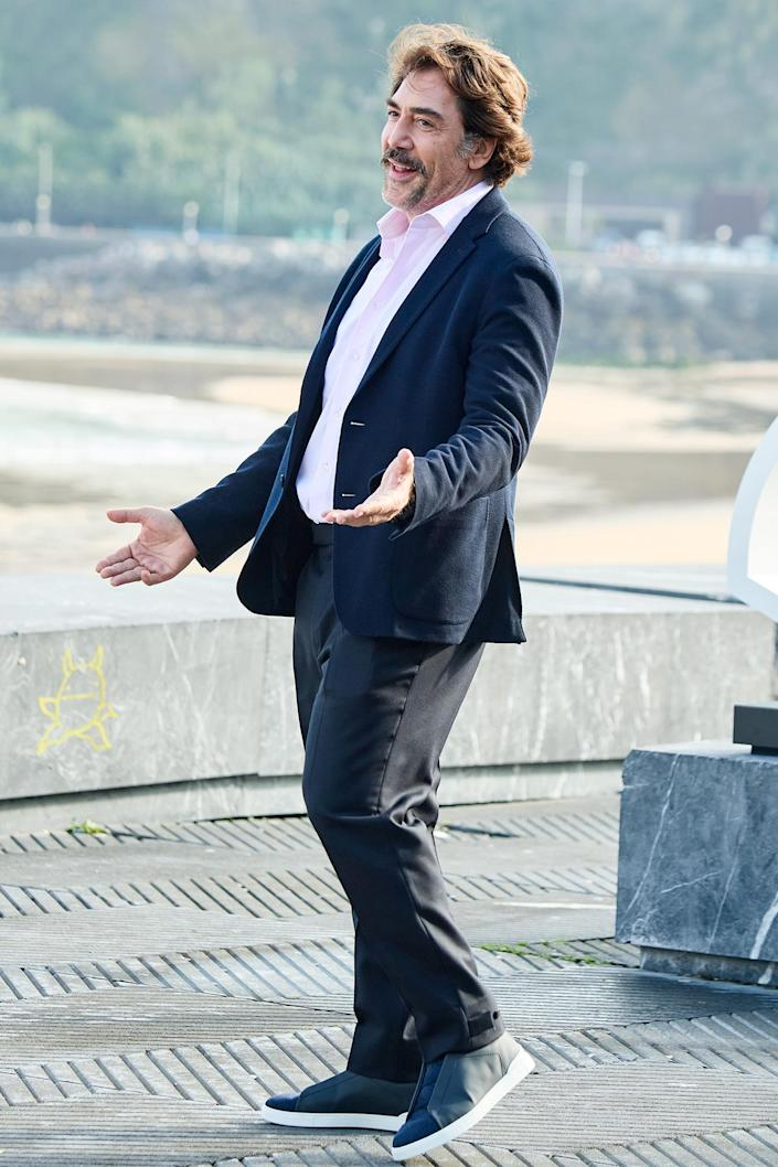 <p>Javier Bardem arrives with arms wide open at the premiere of <em>The Good Boss</em> at the 69th San Sebastian Film Festival in Spain on Sept. 21.</p>