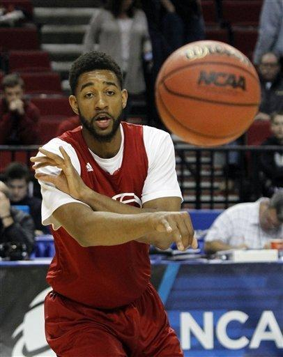 Indiana forward Christian Watford passes during practice in Portland, Ore., Wednesday, March 14, 2012. Indiana plays New Mexico State in an NCAA tournament second-round college basketball game on Thursday.(AP Photo/Don Ryan)