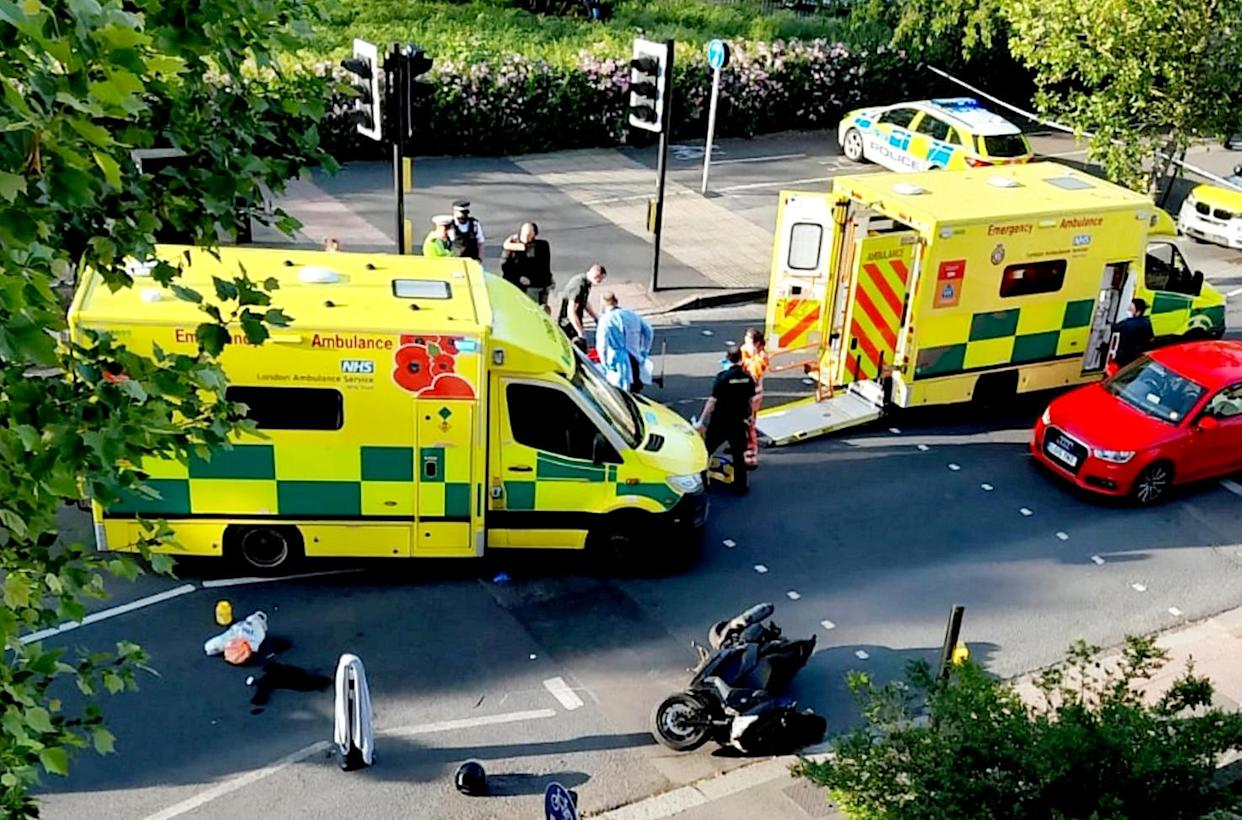 The scene of the horror crash in Acton, west London. (SWNS)
