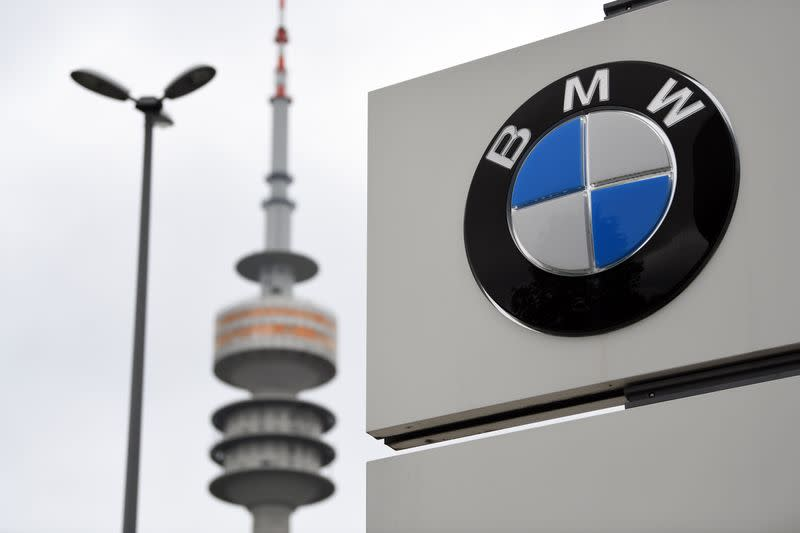 The logo of German car manufacturer BMW is seen at the company headquarters in Munich