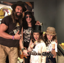 "<p>Rock on! ""Dream come true my kids getting to meet SLASH,"" Aquaman captioned this shot with his son, Nakoa-Wolf, 8, and daughter Lola, 10, posing with the Guns N' Roses guitarist. The group posed for a photo backstage at the band's Los Angeles Forum show on Thursday night. ""Mahalo braddah epic night,"" he added. ""Big love."" (Photo: <a rel=""nofollow noopener"" href=""https://www.instagram.com/p/BcIEHUNnG_0/?taken-by=prideofgypsies"" target=""_blank"" data-ylk=""slk:Jason Momoa via Instagram"" class=""link rapid-noclick-resp"">Jason Momoa via Instagram</a>) </p>"