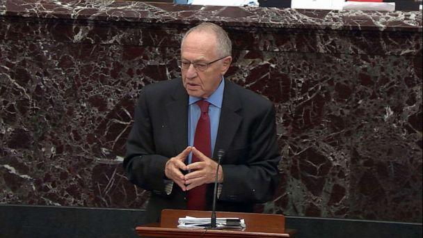 PHOTO: Alan Dershowitz speaks on the Senate floor during the impeachment trial of President Donald Trump, Jan. 29, 2020, in Washington, DC. (ABC News)