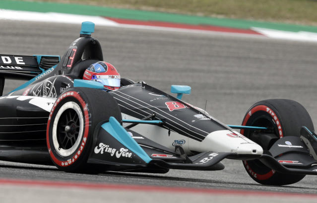 Colton Herta (88) works through a turn during the IndyCar Classic auto race, Sunday, March 24, 2019, in Austin, Texas. Herta won the race. (AP Photo/Eric Gay)