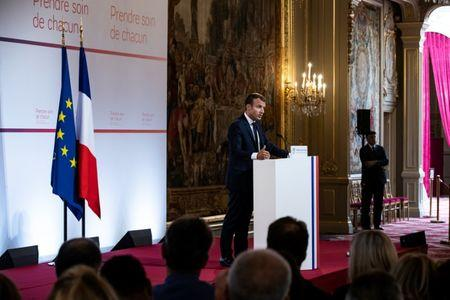 French President Emmanuel Macron delivers a speech on the transformation of the French healthcare system at the Elysee Palace in Paris, France, September 18, 2018. Etienne Laurent/Pool via REUTERS