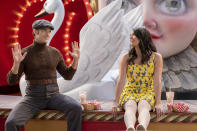 """This image released by Apple TV+ shows Aaron Tveit, left, and Cecily Strong in a scene from """"Schmigadoon!,"""" premiering Friday. (Apple TV+ via AP)"""