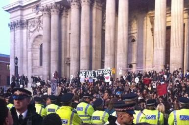 Protestors on the steps of St Paul's