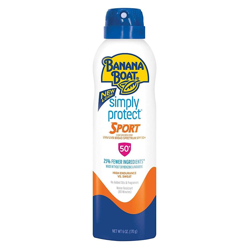 <p>If you can't part with the convenience of spray sunscreen, grab this <span>Banana Boat Simply Protect Sport Reef Friendly Sunscreen Spray</span> ($8).</p>