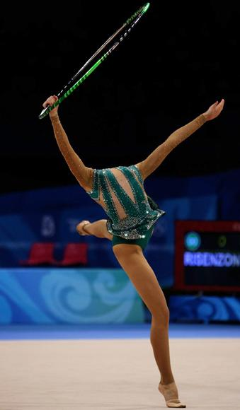 Irina Risenzon of Israel competes in the Individual All-Around final held at the University of Science and Technology Beijing Gymnasium on Day 15 of the Beijing 2008 Olympic Games on August 23, 2008 in Beijing, China. (Mike Hewitt/Getty Images)