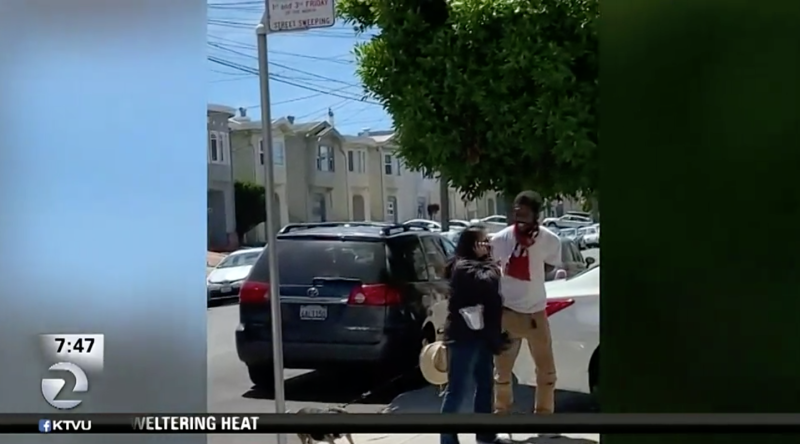 A food delivery driver is accused of going on a racist rant after a woman asked him not to illegally park in her driveway in San Francisco. (Photo: KTVU)