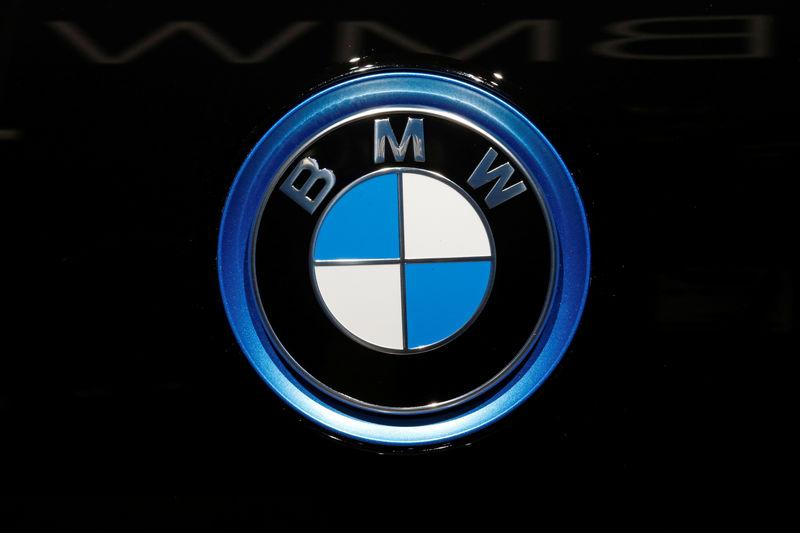 The BMW logo is seen on the second press day of the Paris auto show, in Paris, France
