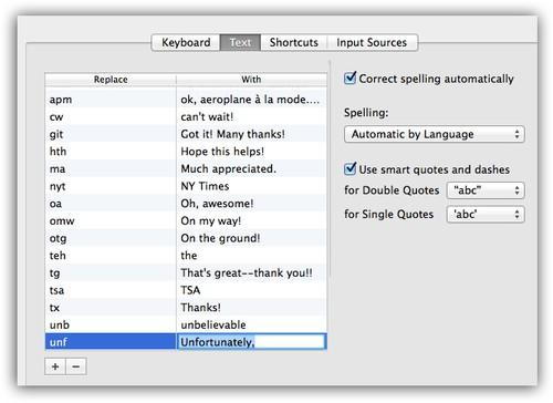 Mac screenshot of text expanders