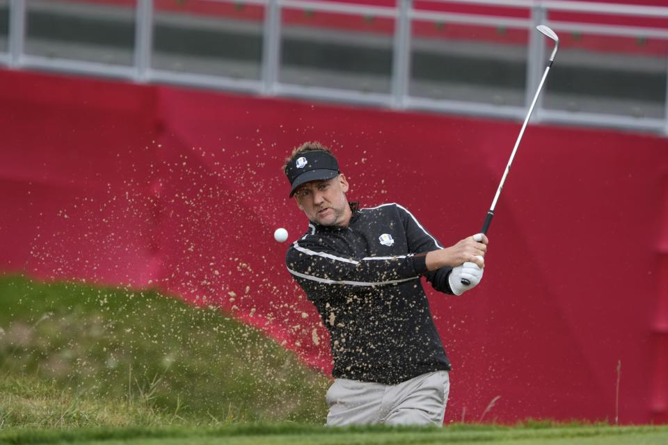 Team Europe's Ian Poulter hits to the ninth green during a practice day at the Ryder Cup at the Whistling Straits Golf Course Thursday, Sept. 23, 2021, in Sheboygan, Wis. (AP Photo/Ashley Landis)