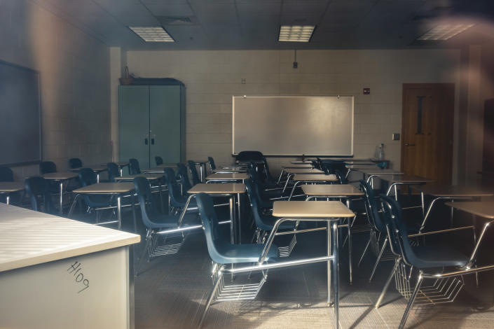 An empty classroom at Marietta High School in Marietta, Ga., where the district plans to spend $200,000 on desk partitions, July 7, 2020. (Audra Melton/The New York Times)