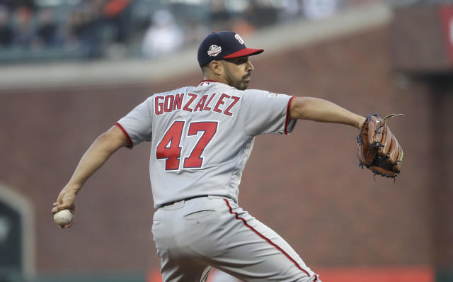 Washington Nationals starting pitcher Gio Gonzalez throws to the San Francisco Giants during the first inning of a baseball game Monday, April 23, 2018, in San Francisco. (AP Photo/Marcio Jose Sanchez)