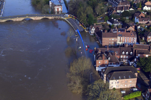 Flooding in Bewdley, Worcestershire, has already caused severe damage to homes (PA)