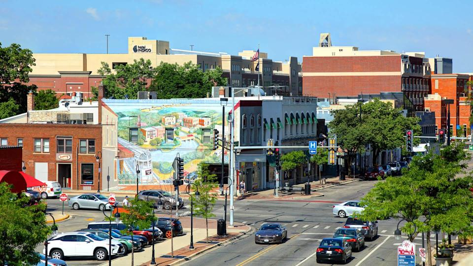Naperville, Illinois, USA - June 9, 2017: Daytime view of the downtown district in fifth-largest city in Illinois located outside Chicago.