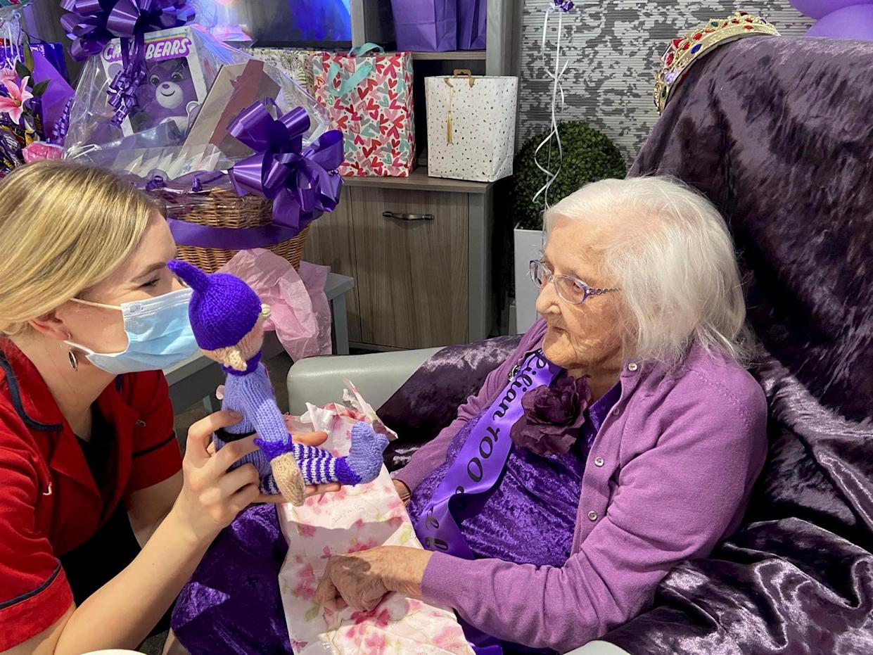 Lillian Greenway celebrates her 100th birthday with help from her carers and surrounded by hundreds of cards and gifts from wellwishers. See SWNS story SWMDbirthday. A centenarian with no close surviving family was surprised with 10,500 cards and gifts from strangers around the world to mark her milestone 100th birthday.  Lillian Greenway was left overwhelmed after being inundated with presents from thousands of well-wishers following an appeal from her care home. Staff members at Heartlands Care and Nursing Home in Yardley, Birmingham, took to Facebook earlier this month in the hope of getting 100 cards for her 100th birthday. The next day they received 250 in the post and since then a total of 10,000 cards and 500 gifts have landed on the doorstep.