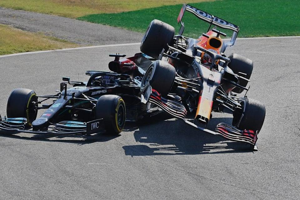Verstappen's car went on top of rival Hamilton  (Getty Images)
