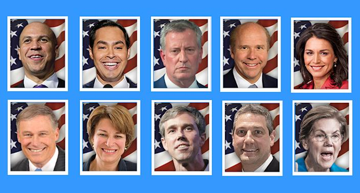 Top row, left to right: Cory Booker, Julian Castro, Bill de Blasio, John Delaney, Tulsi Gabbard. Bottom row, left to right: Jay Inslee, Amy Klobuchar, Beto O'Rourke, Tim Ryan and Elizabeth Warren. (Yahoo News photo Illustration; photos: AP, Getty Images)
