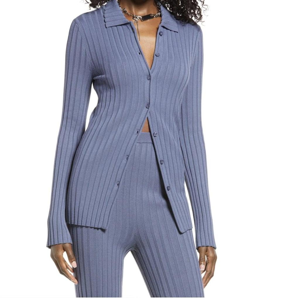 <p>On days when you want to dress up and still look effortless, this <span>Open Edit Ribbed Button-Up Cardigan</span> ($59) will do the trick. It's lightweight, easy to style, and sophisticated.</p>