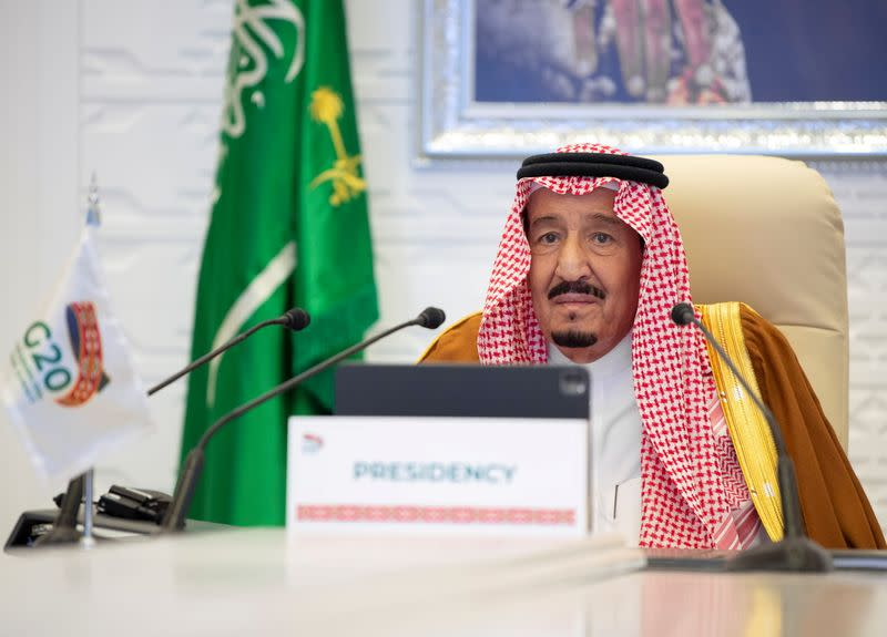 Saudi King Salman bin Abdulaziz gives virtual speech during an opening session of the 15th annual G20 Summit World Leaders, in Riyadh