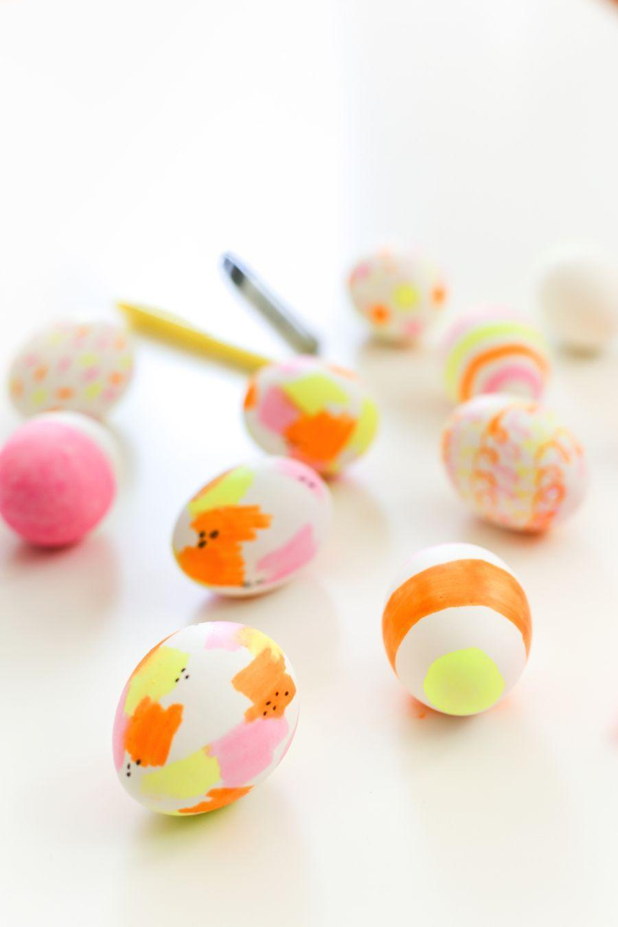 "<p>The easiest way to add a vibrant, mess-free pop of color to your Easter eggs? Highlighters! Dig through the family arts and crafts drawer for a few bright markers, then let your inner artist take over. </p><p><strong>Get the tutorial at <a href=""http://www.saltycanary.com/highlighter-easter-eggs/"" rel=""nofollow noopener"" target=""_blank"" data-ylk=""slk:Salty Canary"" class=""link rapid-noclick-resp"">Salty Canary</a>.</strong></p><p><strong><a class=""link rapid-noclick-resp"" href=""https://www.amazon.com/Sharpie-27145-Highlighters-Assorted-12-Count/dp/B002BA5WMI/?tag=syn-yahoo-20&ascsubtag=%5Bartid%7C10050.g.1282%5Bsrc%7Cyahoo-us"" rel=""nofollow noopener"" target=""_blank"" data-ylk=""slk:SHOP HIGHLIGHTERS"">SHOP HIGHLIGHTERS</a><br></strong></p>"
