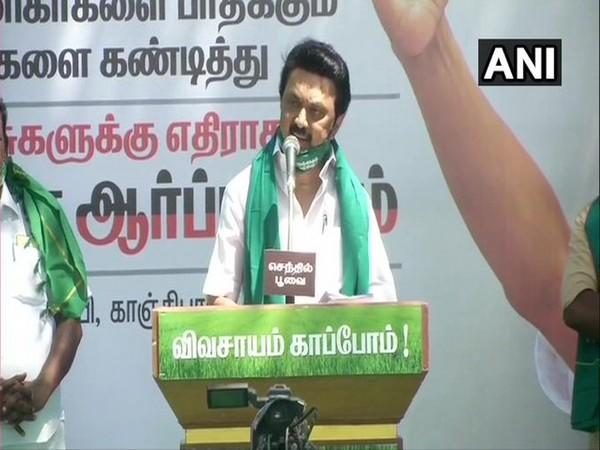 Dravida Munnetra Kazhagam (DMK) president MK Stalin takes part in protest against the farm laws on Monday. Photo/ANI