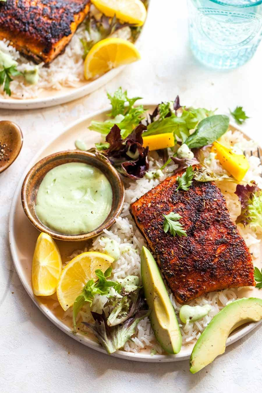 "<p>Those in Delaware know a good piece of fish when they see one, and salmon never disappoints. This blackened salmon recipe features a homemade avocado ranch that's seriously good.</p> <p><strong>Get the recipe</strong>: <a href=""https://dishingouthealth.com/blackened-salmon-avocado-ranch/"" class=""link rapid-noclick-resp"" rel=""nofollow noopener"" target=""_blank"" data-ylk=""slk:blackened salmon"">blackened salmon</a></p>"