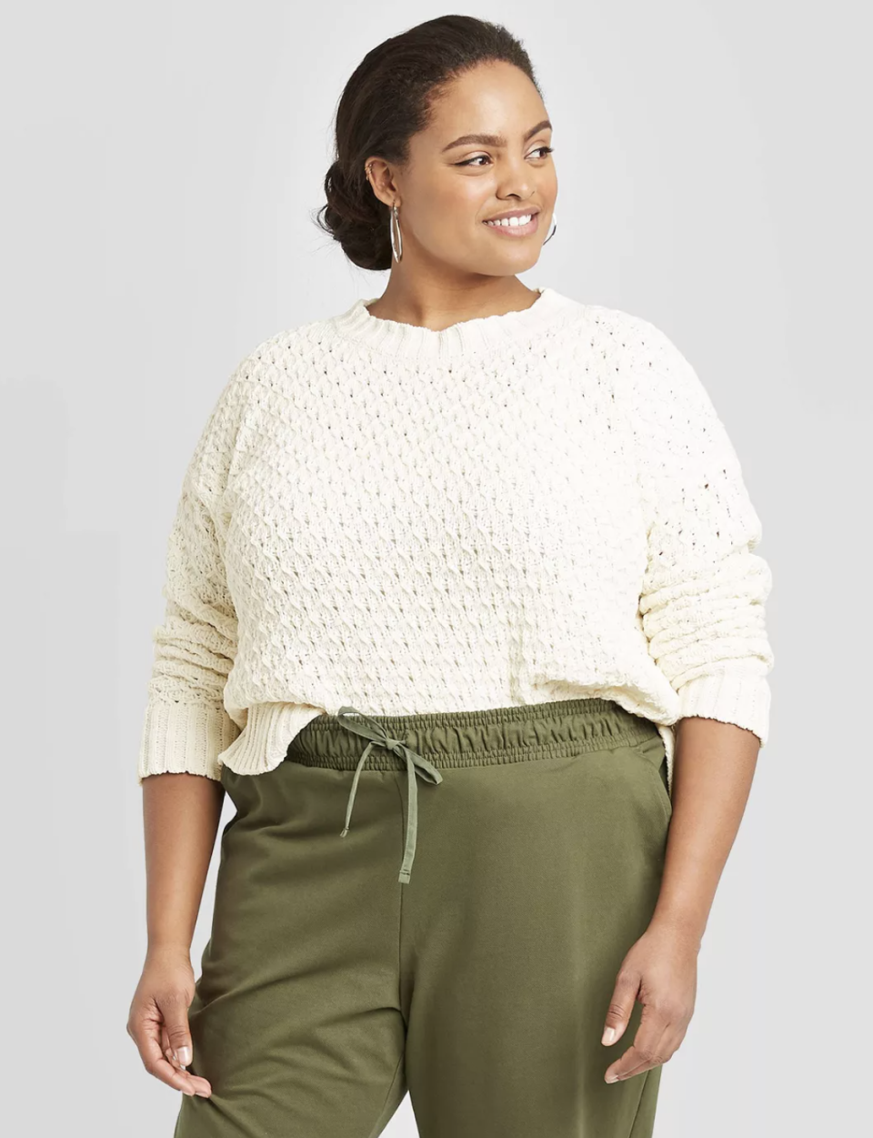 """<p><strong>A New Day</strong></p><p>target.com</p><p><strong>$20.99</strong></p><p><a href=""""https://www.target.com/p/women-s-plus-size-crewneck-textured-pullover-sweater-a-new-day/-/A-78294786"""" rel=""""nofollow noopener"""" target=""""_blank"""" data-ylk=""""slk:Shop Now"""" class=""""link rapid-noclick-resp"""">Shop Now</a></p><p>The neutral hue, the fun texture, the price tag! This is the ultimate wear-with-everything sweater your life has been missing. </p>"""