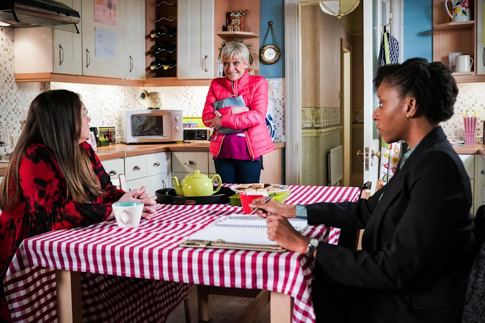 WARNING: Embargoed for publication until 00:00:01 on 16/03/2021 - Programme Name: EastEnders - January-March 2021 - TX: 25/03/2021 - Episode: EastEnders - January-March 2021- 6243 (No. 6243) - Picture Shows: ***EMBARGOED TILL TUESDAY 16TH MARCH 2021*** Stacey Slater (LACEY TURNER), Jean Slater (GILLIAN WRIGHT) - (C) BBC - Photographer: Kieron McCarron/Jack Barnes