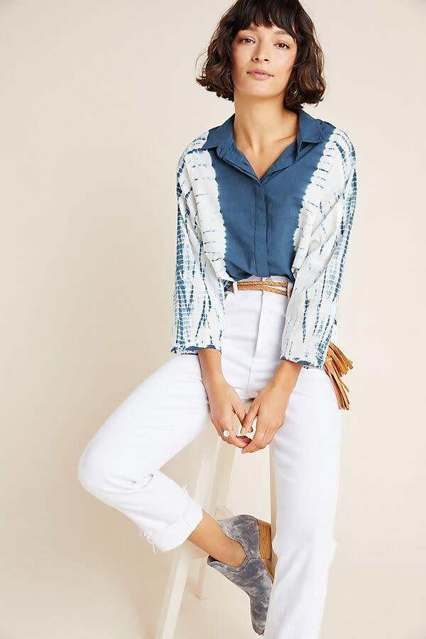 """This top comes in sizes 00 to 16.&nbsp;<a href=""""https://fave.co/2OHrb2U"""" rel=""""nofollow noopener"""" target=""""_blank"""" data-ylk=""""slk:Find it at Anthropologie for $138"""" class=""""link rapid-noclick-resp"""">Find it at Anthropologie for $138</a>."""