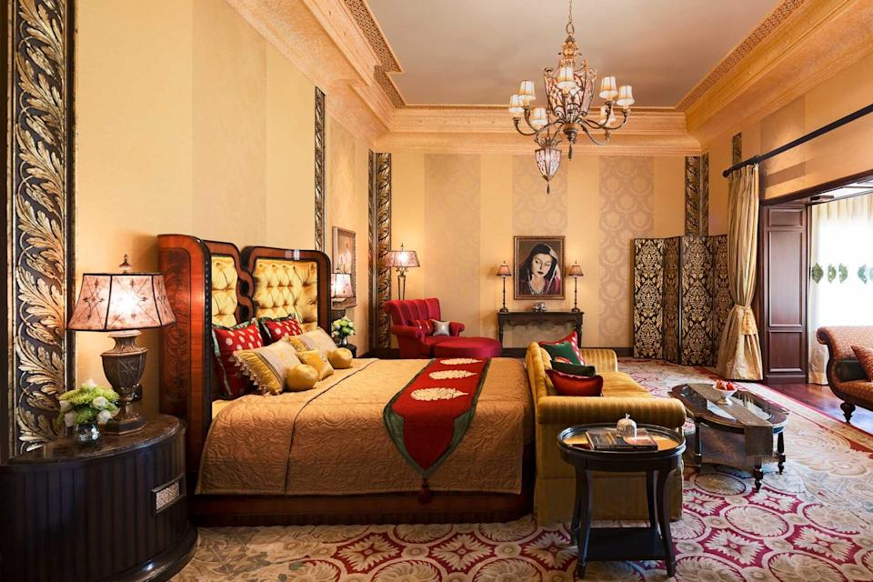 An ornate guest room at the Rambagh Palace, voted one of the best hotels in the world