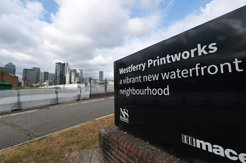 A view of the Westferry Printworks site on the Isle of Dogs, east London. The £1 billion Westferry Printworks redevelopment scheme in east London was controversially approved in January by Housing Secretary Robert Jenrick, against the recommendation of a planning inspector. The decision has since been reversed after legal action by Tower Hamlets Council, which had voiced concerns over the size of the development when the plans were first submitted in 2018. (Photo by Yui Mok/PA Images via Getty Images)